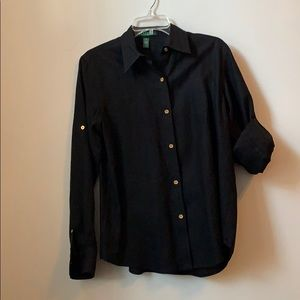Lauren Ralph Lauren Linen Black Shirt M Medium